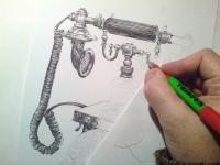 Telefon retro - kresba
