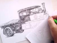 Parní nákladní vůz, parní náklaďák, náklaďák retro, autoveterán - pohlrd na kresbu.