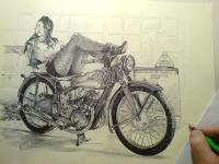 Jawa 250 - akt kresba
