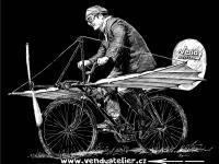 Velocipedista - aviatik: předloha na potisk černého trička bílou barvou