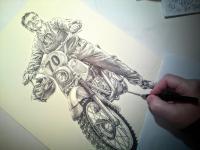 Motorkář - perokresba - narozeninový dárek k životnímu jubileu