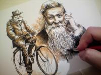 John Boyd Dunlop - kolorovaná perokresba