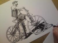Parní motocykl - perokresba