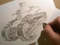 Tank Renault FT-17 - perokresba