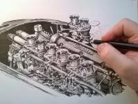 Maserati motor - perokresba