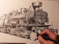 Parní lokomotiva 434 - perokresba