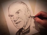 Milan Kundera - perokresba Miroslav Vomáčka