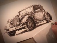Tatra - perokresba pro muzeum