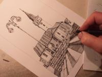 Jemnice - kostel na náměstí - perokresba