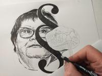Marie Benešová - perokresba