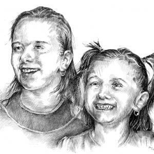 Karolínka a Viktorka - perokresba