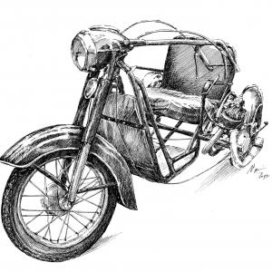 Orthopedia, tříkolové vozítko pro invalidy