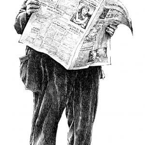 Čtenář novin - kresba