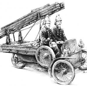 Girling 3-kolový Fire Truck, cca. 1910