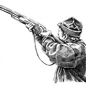 Myslivec při střelbě