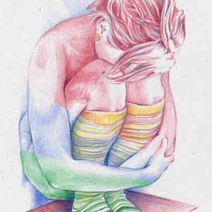 žena - akvarelové pastelky