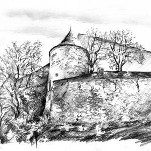 Moravské Budějovice - kresba tužkou