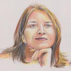 Romana - portrét, akvarelové pastelky