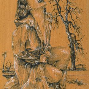 Akt na dřevěné dýze