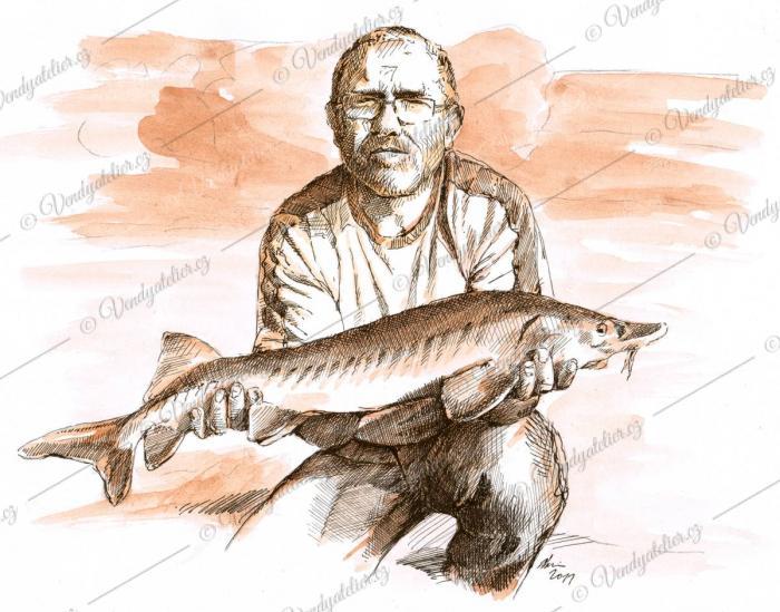 Radek rybář - kresba