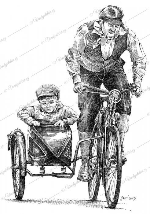 Cyklista se sajdou
