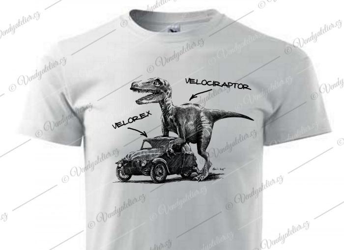 Velociraptor - bílé triko