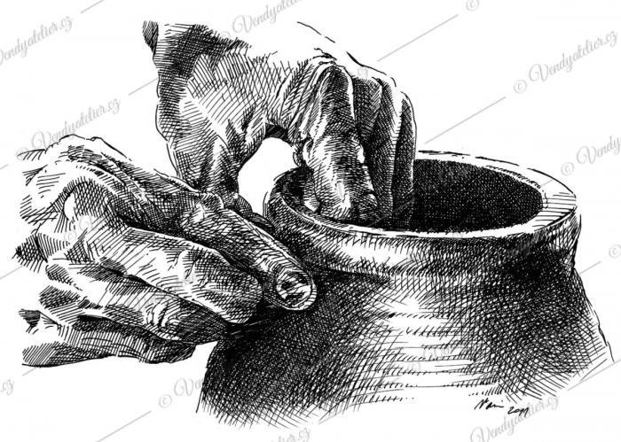 Hrnčířský kruh - perokresba