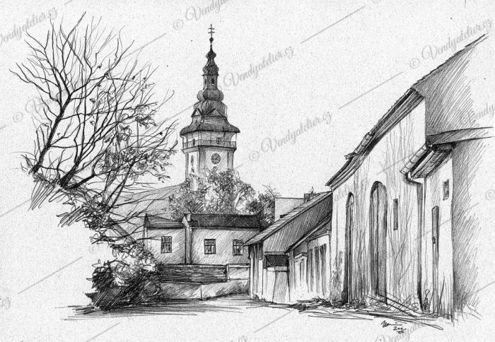 Moravské Budějovice - pohled z Husovy ulice