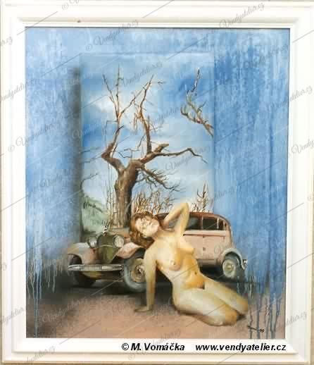Akt -Tři veteráni - starý auto, starý strom a moje stará...