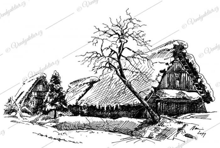 Zimní krajina - kresba