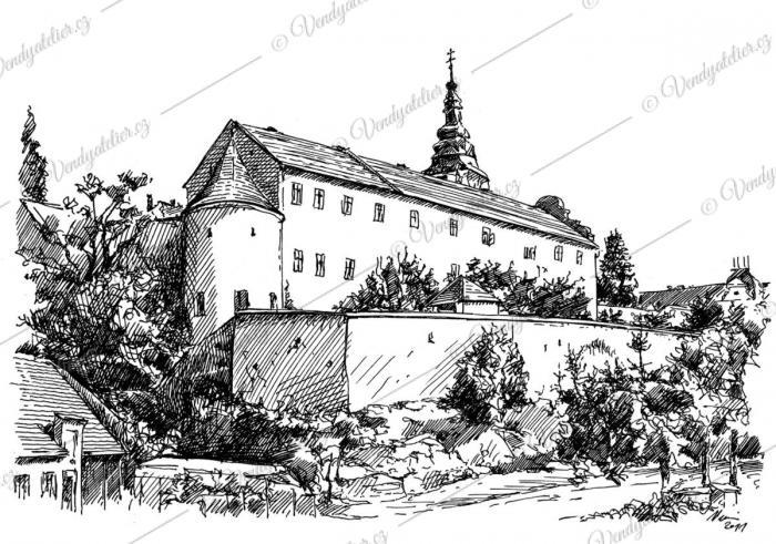Moravské Budějovice - perokresba  © Miroslav Vomáčka - vendy@vendyatelier.cz