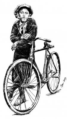 Cyklista - perokresba na Sokolské šibřinky