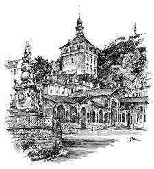 Karlovy Vary - Tržní kolonáda s morovým sloupem
