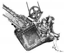 Stavebnictví - bagr a žena