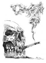 kouření, lebka, lebka s cigaretou, kuřák, smrt, smrťák