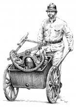 Hasič a historická hasicí technika