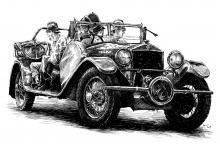 Hasiči, hasičské auto, autoveterán, hasičská stříkačka