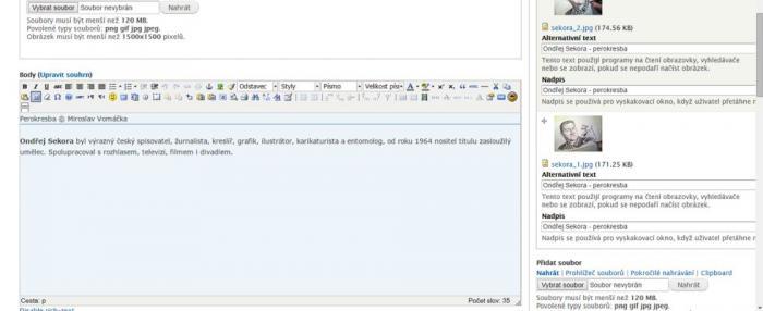 Textový editor pro formátování obsahu
